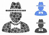 Spy Composition Of Round Dots In Various Sizes And Color Hues, Based On Spy Icon. Vector Round Dots  poster