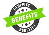 Benefits Sign. Benefits Black-green Round Ribbon Sticker poster
