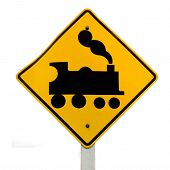 Railroad Crossing, steam engine roadsign on white