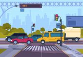 City Street. Cartoon Town Cityscape With Cars And Crosswalk, Town Traffic On Crosswalk. Vector Urban poster