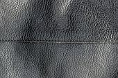 Abstract Genuine Black Leather Texture Background With Stitch. Close Up View With Copy Space poster