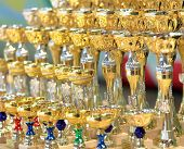 MOSCOW, RUSSIA - MAY 2: Sports cups wait for prize-winners of IX World Dance Olympiad in Moscow, Rus