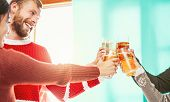 Happy Friends Doing Celebratory Toast In Winter Christmas Holidays - Young People Drinking Beer In X poster