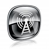 Wi-fi Tower Icon Black Glass, On White Background