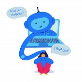 Chat Bot Provides Psychological Support To The Girl Flat Vector Illustration.girl Feeling Bad And As poster