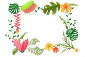Beautiful Frame With Jungle Leaves, Flowers. Vector Frame With Jungle Plants For Decoration And Desi poster