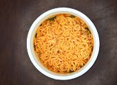 Fast Food Spice Instant Noodles. Cooked Instant Noodles Soup In The White Plastic Cup. poster