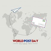 World Post Day With Flying Mail Paper On The World With World Map Background poster