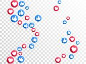 Like Thumbs Up And Love Heart Icons Falling On Transparent Background. Abstract Social Media Symbols poster