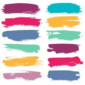 Color Grunge Brushes. Watercolor Paint Linear Strokes For Highlighting, Yellow, Red And Blue, Green  poster