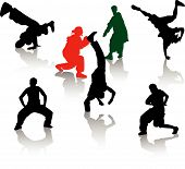picture of break-dancing  - Silhouettes of street dancers teens - JPG