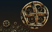 Abstract background, fantastic 3D gold spheres. poster