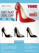 Professional product flyer or banner design of ladies shoe or other product with attractive discount