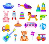 Children Toys. Guitar And Car, Train And Whirligig, Bear And Hare, Helicopter And Ball, Rocket And S poster
