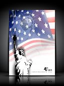 Statue of liberty on American flag  background for 4th July American Independence Day and other even