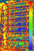 Thermal Image With A Thermal Imaging Camera From A Network Switch And Network Cable In A Data Center poster