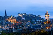 Edinburgh Cityscape and castle from Calton Hill at dusk Scotland UK