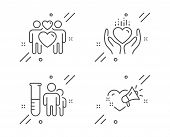 Medical Analyzes, Hold Heart And Love Couple Line Icons Set. Love Message Sign. Medicine Results, Lo poster