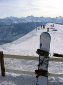A general view of some skiers on the top of the mountain at the ski resort of Crans Montana in the Swiss Alps in Valais in Switzerland.