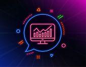 Statistics Line Icon. Neon Laser Lights. Data Analysis Sign. Business Strategy. Glow Laser Speech Bu poster