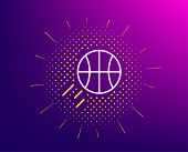 Basketball Line Icon. Halftone Pattern. Sport Ball Sign. Competition Symbol. Gradient Background. Ba poster