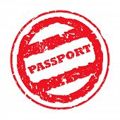 Used red circular passport stamp, isolated on white background.