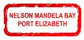 Used red Nelson Mandela Bay and Port Elizabeth city travel passport stamp, isolated on white background.