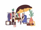 Garage Sell Vector Illustration. Flea Market Idea. Second Hand Seller Flat Character Isolated On Whi poster