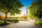Paris Eiffel Tower And Path In Trocadero Gardens At Sunrise In Paris, France. Web Banner Format. Eif poster