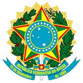 Brazil, coat of arms, seal or national emblem, isolated on white background.