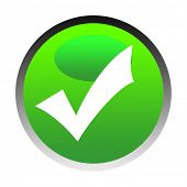 foto of check mark  - Green tick or check mark button isolated on white background - JPG