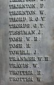 List of names on old military war memorial from World War I.