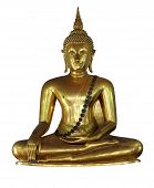 Gilded Buddha Statue Sitting In Lotus Position. Statue From A Buddhist Monastery. Isolated. White Ba poster