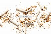 Cigarettes On White Background. Addiction To Smoking, Harm Of Tobacco Smoke. Bad Habit, Smoking Kill poster