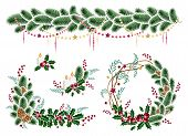 Christmas Winter Holiday Decoration. Christmas Wreath, Garland, Christmas Candles. Design Element Fe poster
