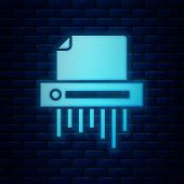 Glowing Neon Paper Shredder Confidential And Private Document Office Information Protection Icon Iso poster