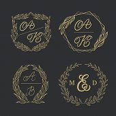 Elegant Floral Monograms And Borders. Design Templates For Wedding Invitations, Menus, Save The Date poster
