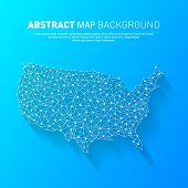 Abstract United States Line Map, Vector, Illustration, Eps File poster