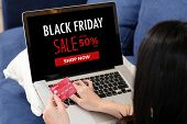Woman Hands Holding Credit Card And Using Laptop Computer For Shopping Black Friday Online Sale, E C poster