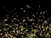 Gold Shining Realistic Confetti Flying On Black Holiday Vector Illustration. Premium Flying Tinsel E poster