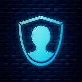 Glowing Neon User Protection Icon Isolated On Brick Wall Background. Secure User Login, Password Pro poster