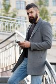 Sms Messaging Business. Bearded Man Texting Sms Outdoor. Businessman Send Sms Using Smartphone. Sms  poster