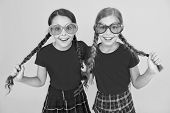 Summer Accessory. Girls Cute Sisters Similar Outfits Wear Colorful Sunglasses For Summer Season. Kid poster