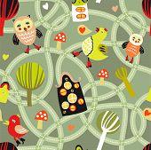 Road seamless Pattern mit Häusern und Vögel