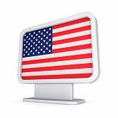 American flag in a lightbox.