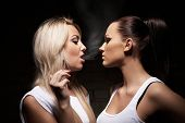 Beautiful Woman Exhaling Smoke Into Face Brunette