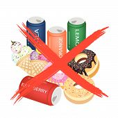 stock photo of bans  - No Fast Food An Illustration of Forbidden or Prohibition Sign on Different Types of Sweet Food Soda Drink Donuts and Ice Cream - JPG