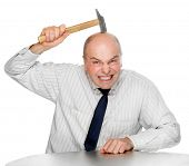 stock photo of fail job  - Senior manager very hard brainstorming - JPG