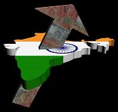 Rupees arrow and India map flag illustration