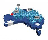 trabalhadores em greve em ilustração de bandeira de mapa de Austrália